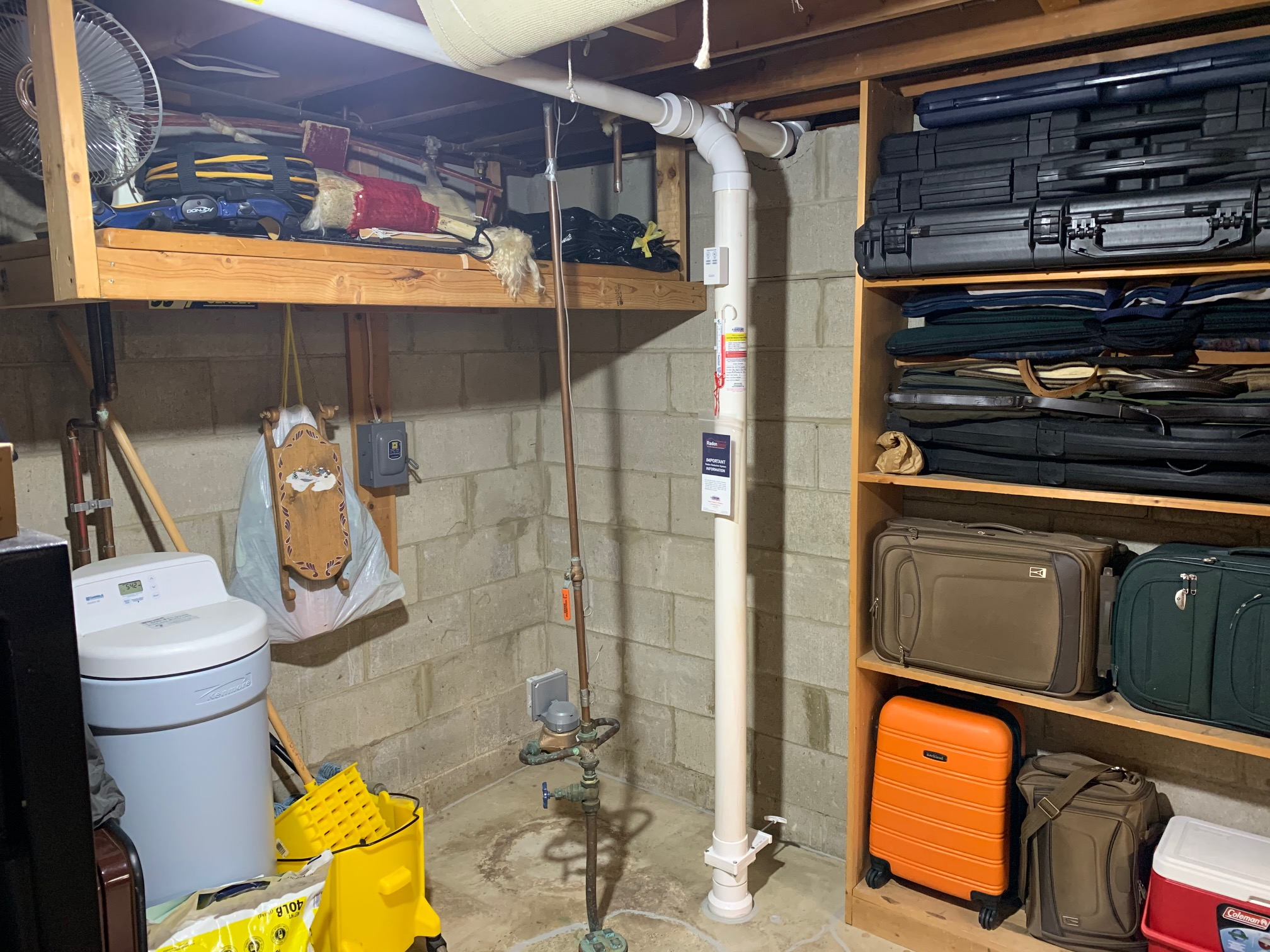 Radon Mitigation System in Basement