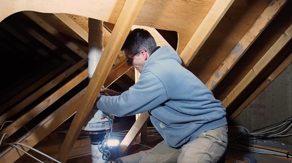 Installing Replacement Radon Fan in Attic
