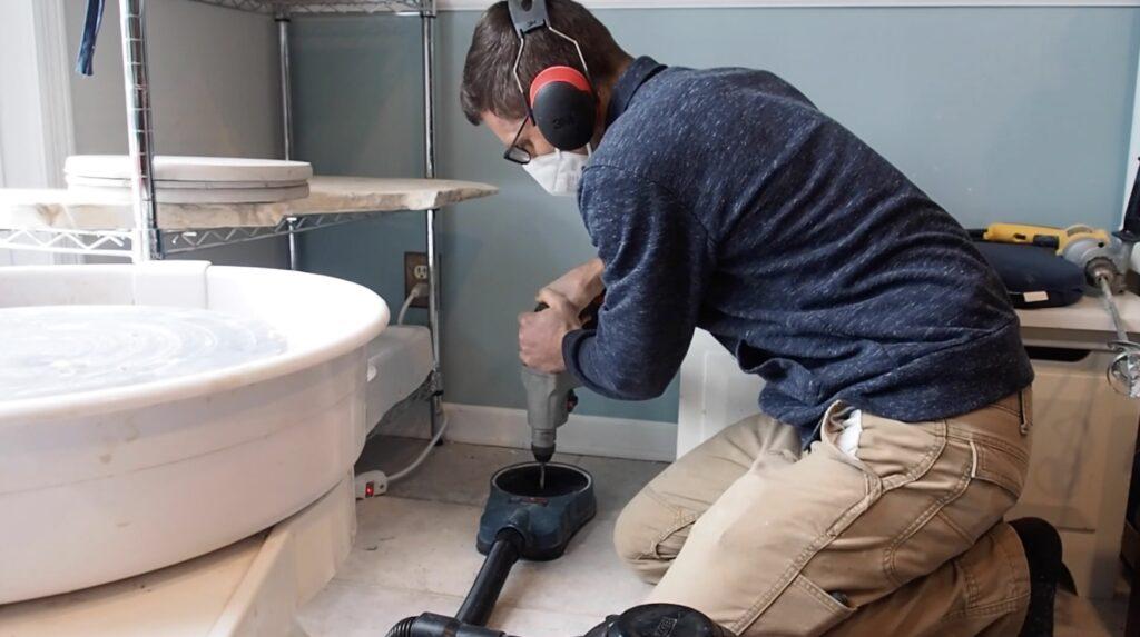 Drilling Radon Test Holes