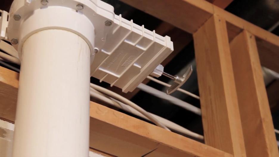 4-inch radon mitigation slide gate valve on pipe