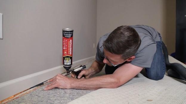 Sealing gap under sheetrock to increase radon system efficiency