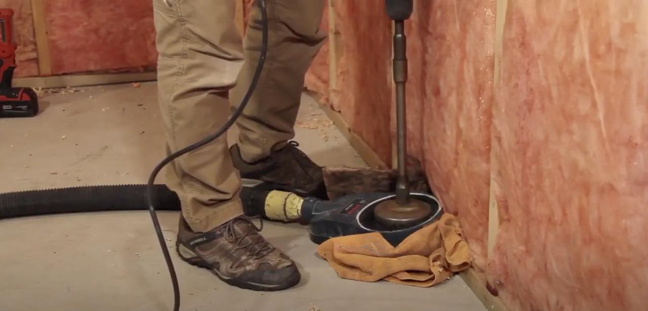 Radon mitigation suction point