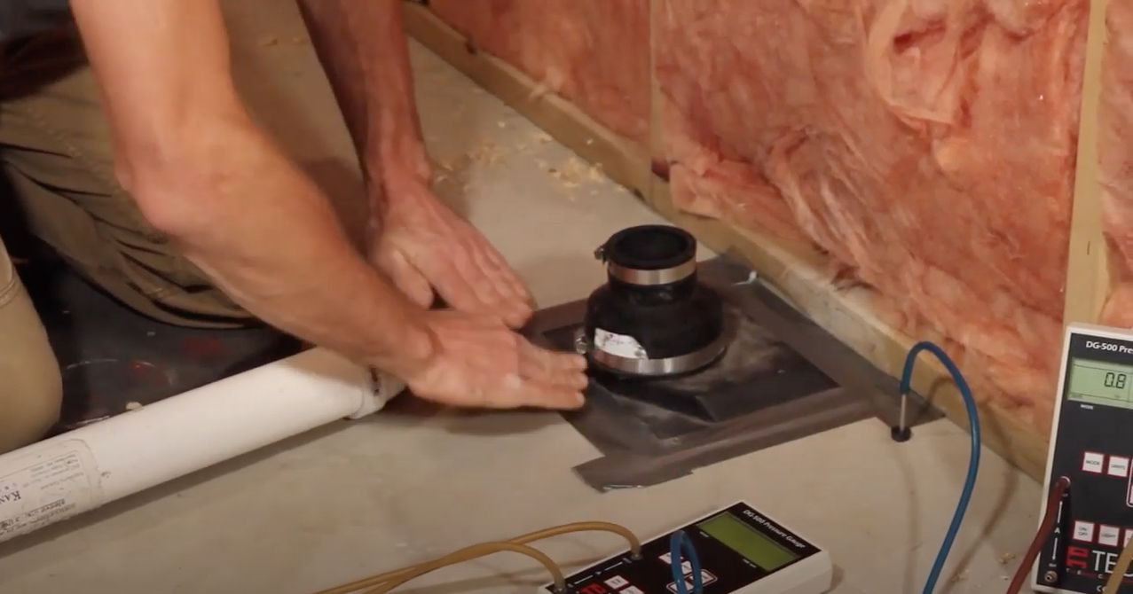 Radon mitigation suction point seal