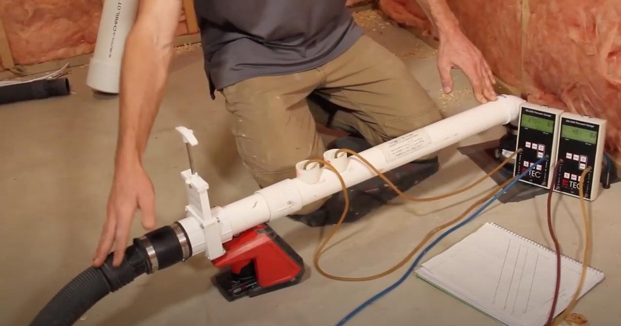 Radon mitigation pitot tube