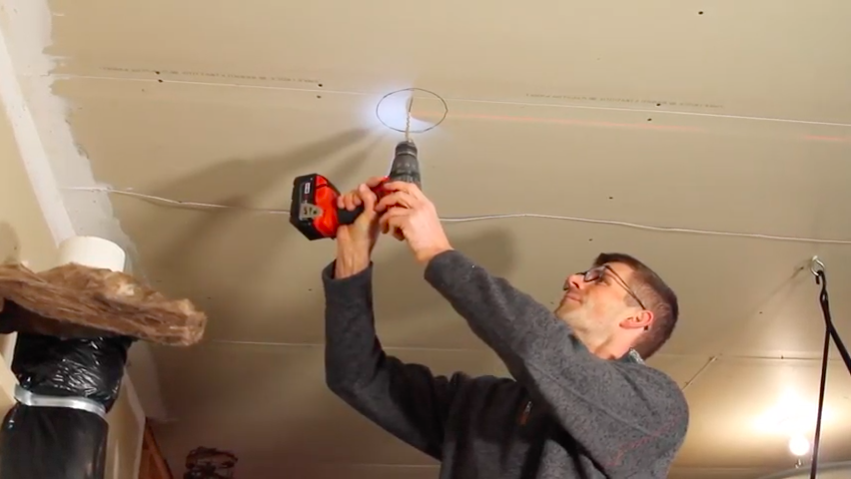 Drilling a vent pipe hole in the garage ceiling