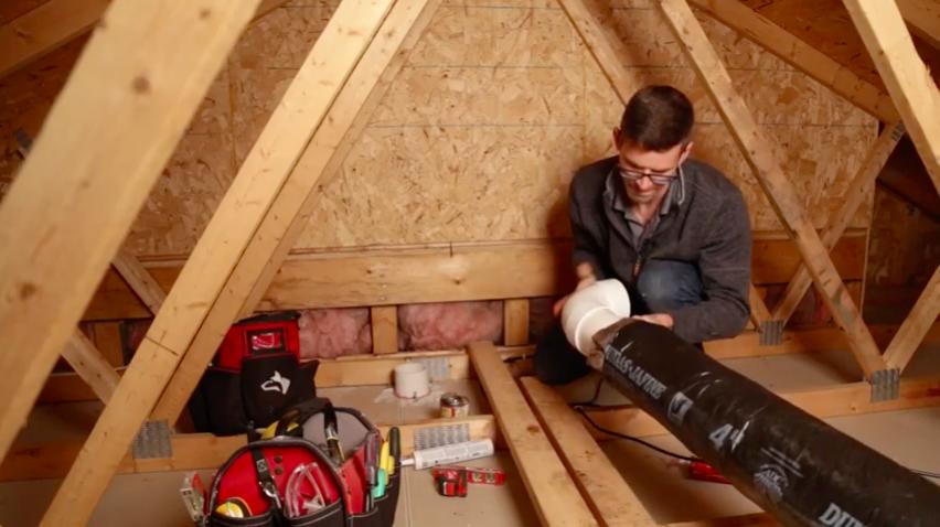 Garage attic radon vent pipe