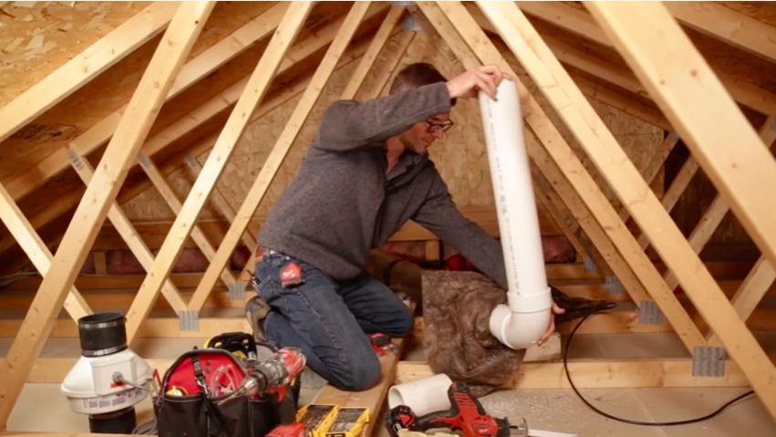 Garage attic radon vent pipe installation