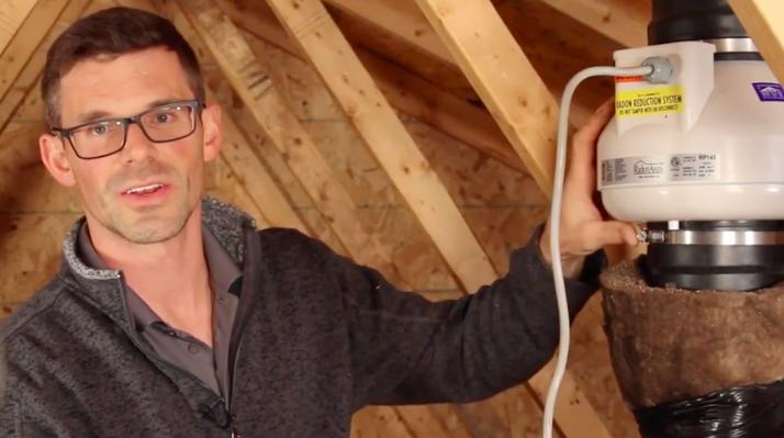 Installing a radon fan in attic