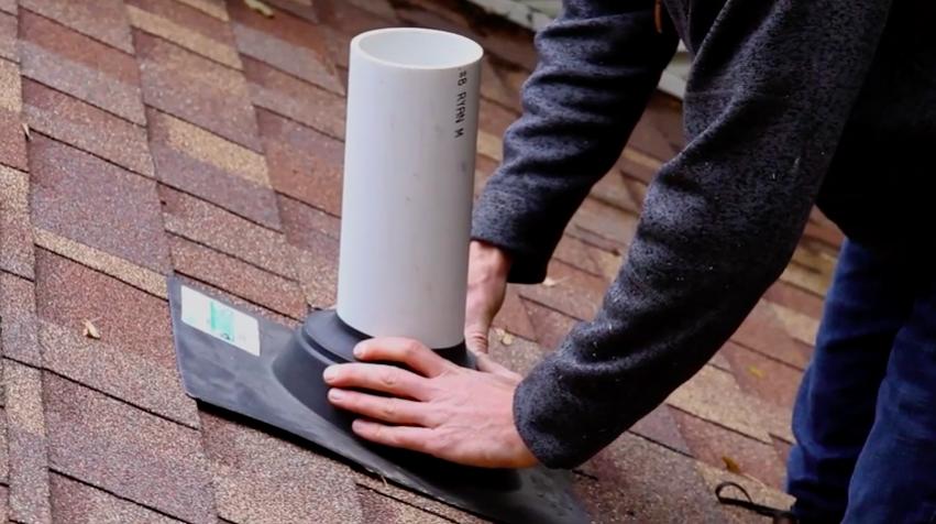 Radon mitigation vent pipe roof flashing