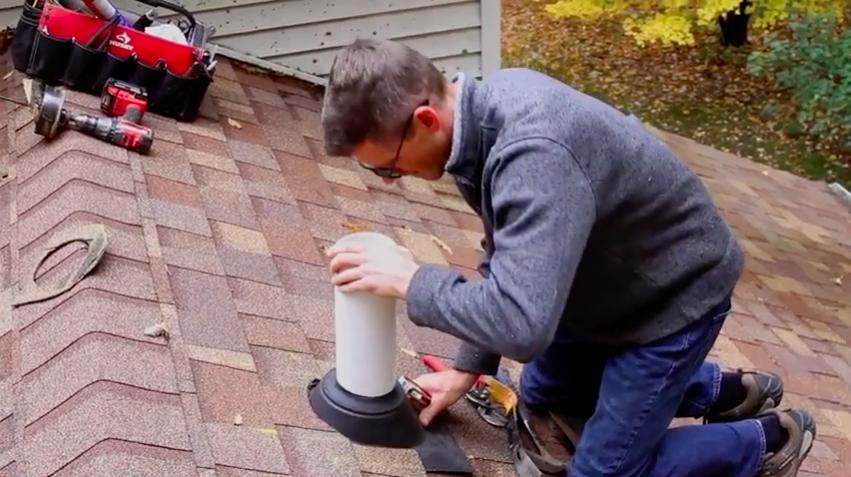 Radon mitigation rooftop vent pipe
